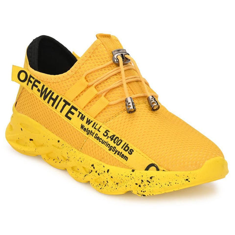 Men's Stylish and Trendy Yellow Printed Fabric Casual Sports Shoes - Trend Eve