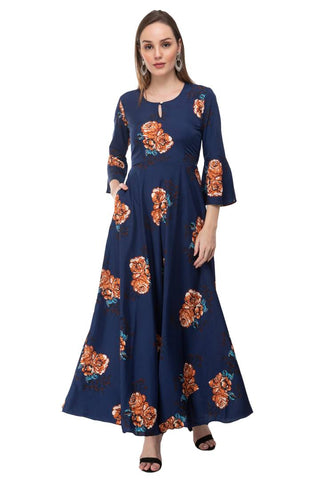 Crepe Printed Maxi Length Dress For Women's