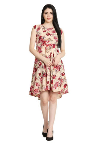 Stylish Crepe Midi Length Floral Printed Dress For Women