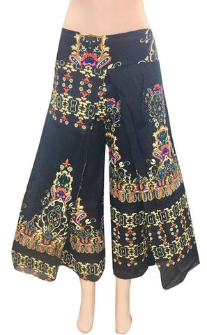 Women's Black Rayon Printed Mid-Rise Trousers