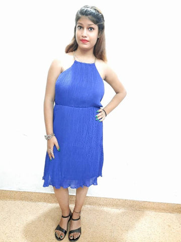 Blue Poly Blend One Piece Dress For Women