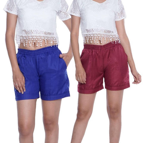 (Pack Of 2) Solid Cotton Ruby Slub Regular Shorts For Girls/Women's