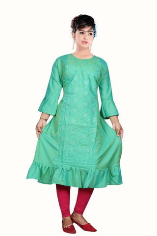 Elite Olive  Rayon Embroidered  A-Line Kurta For Women
