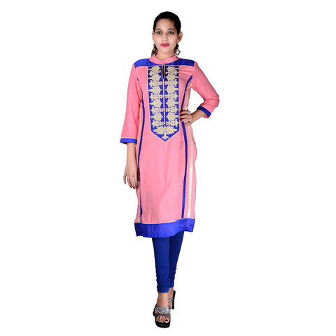 Women's Pink Rayon Embroidered kurti