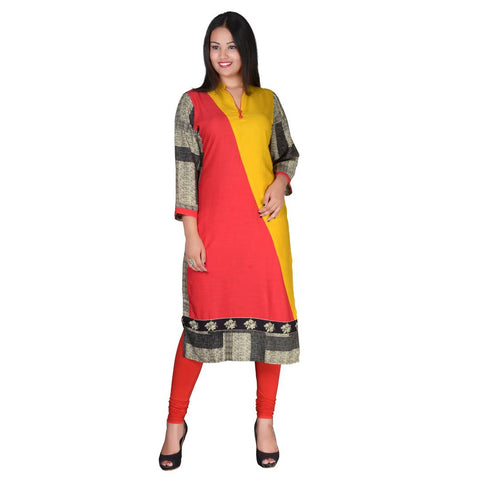 Women's Yellow Rayon Solid kurti