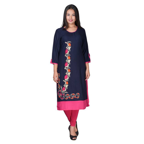 Women's Navy Blue Rayon Embroidered kurti