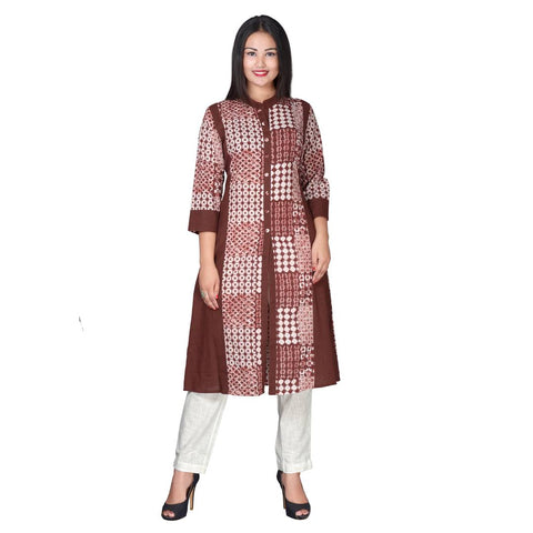 Women's Brown Cotton Printed kurti