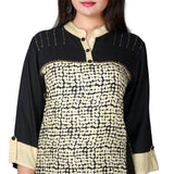 Women's Black Rayon Printed kurti