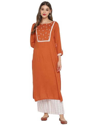 Trendy Brown Rayon Kurta And Palazzo Set For Women