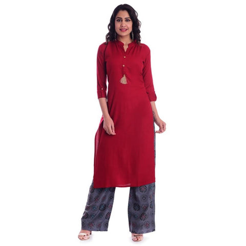 Designer Cotton Solid Straight Kurta And Printed Palazzo Set For Women