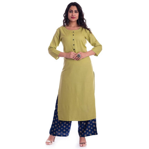 Modern Cotton Solid Straight Kurta And Palazzo Set For Women