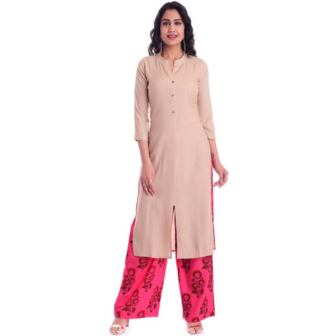 Fashionable Cotton Solid A-Line Kurta And Palazzo Set For Women