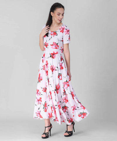 Women White Base Red Floral Printed Dress
