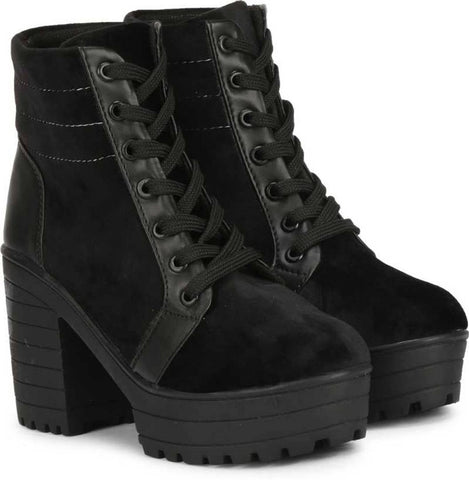 Women's Black Canvas Boots