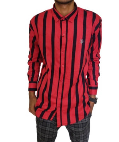 Stylish Red Cotton Striped Slim Fit Casual Shirts For Men