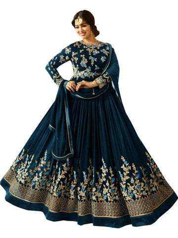 Blue Color Georgette Embroidered Semi Stitched Anarkali Gown