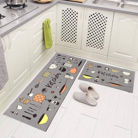 Beautiful Printed Kitchen Mat with anti Skid Rubber Backset of 2(Size- 40 X 120 Cm; 40 X 60 Cm) - Trend Eve