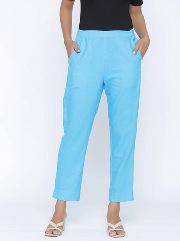 Fashionable Turquoise Cotton Blend Solid Trouser Pant For Women