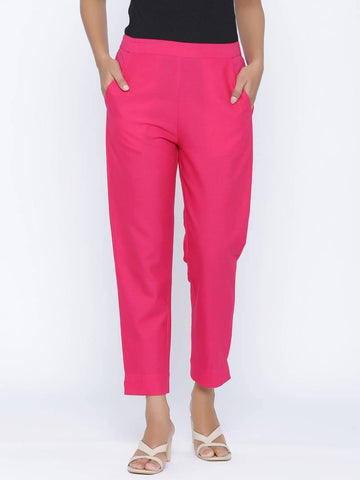 Fashionable Pink Cotton Blend Solid Trouser Pant For Women