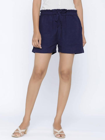 Fashionable Blue Cotton Flex Solid Shorts Pant For Women