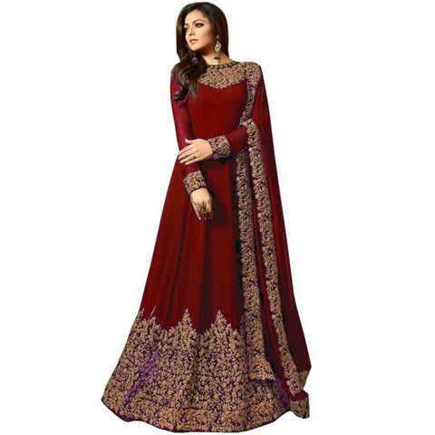 Maroon Color Georgette Embroidered Semi Stitched Anarkali Gown