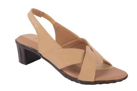 Women's Stylish and Trendy Beige Solid Synthetic Heels Sandal - Trend Eve
