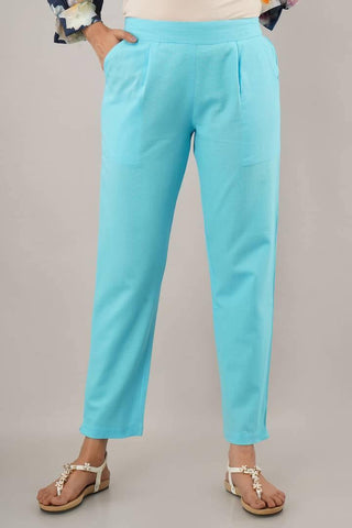 Women's Stylish and Trendy Turquoise Solid Cotton Flex Mid-Rise Trousers