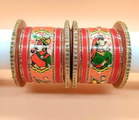Trendy and Traditional Graceful Alloy Bangles Chuda Set