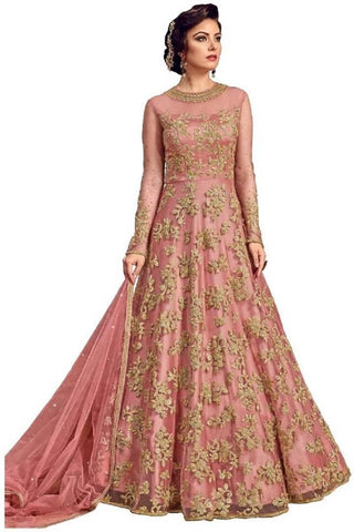 Pink Color Net Embroidered  Anarkali Semi- Stitched Gown