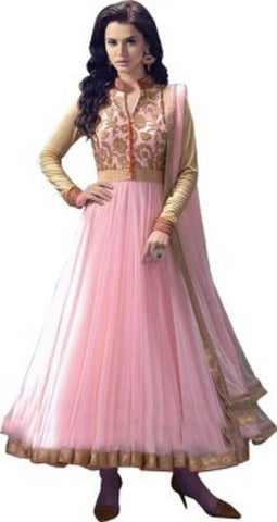 Pink Color Net Embroidered Semi Stitched Anarkali Gown