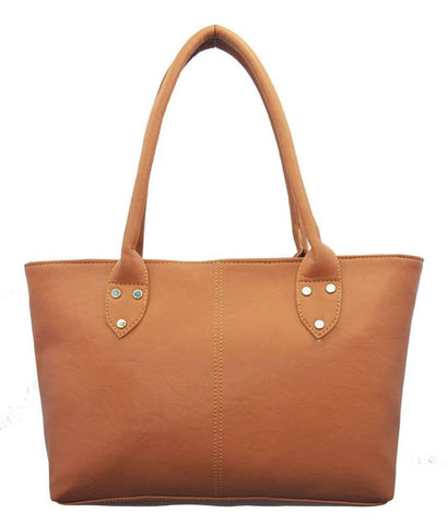 Premium Synthetic Tan Casual Handbag For Women