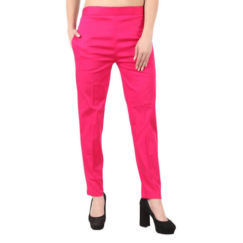 Elegant Cotton Magenta Trouser Pant For Women