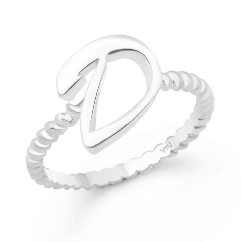 "Stylish Spiral Shank ""D"" Alphabet Alloy Cubic Zirconia Gold Plated Ring for Women"