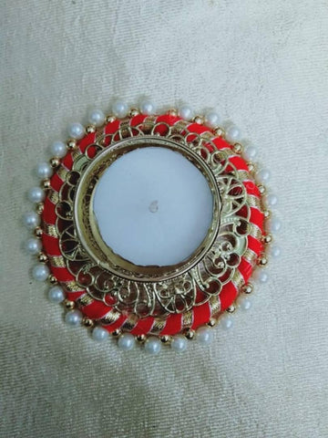 Designer Decorative Red Colour Diya Set of 1 - Trend Eve