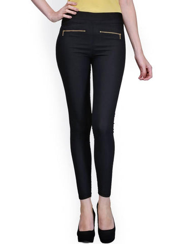 Stylish Spandex Black Solid Solid Jeggings For Women