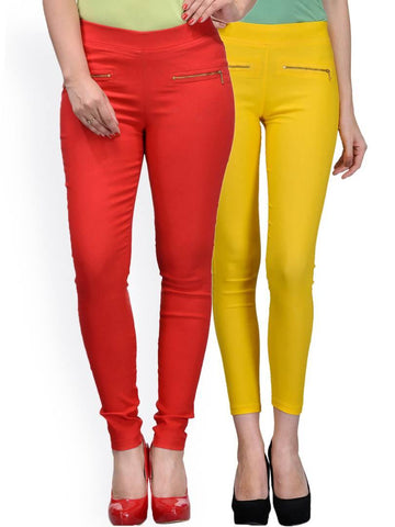 Stylish Spandex Multicoloured Solid Solid Jeggings For Women ( Set Of 2 )