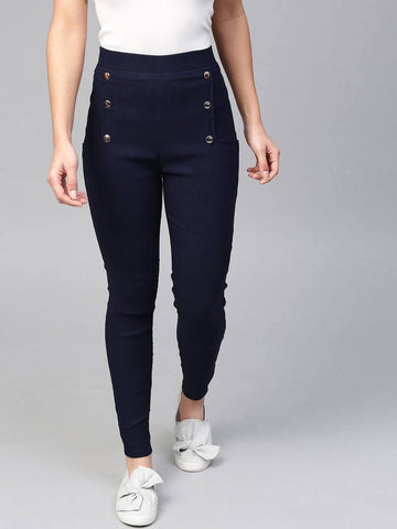 Stylish Spandex Navy Blue Metallic Button Solid Solid Jeggings For Women