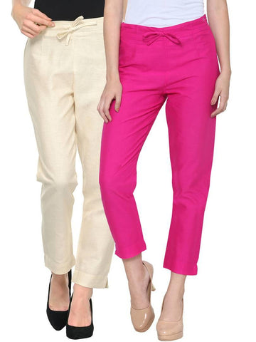Stylish Beige & Fuchsia Cotton Flex Trouser For Women ( Pack Of 2 )