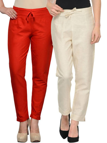 Stylish Beige & Red Cotton Flex Trouser For Women ( Pack Of 2 )