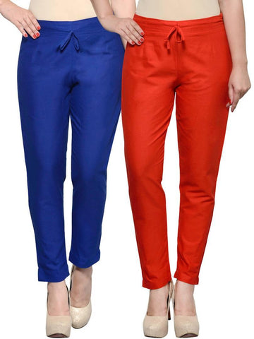 Stylish Navy Blue & Red Cotton Flex Trouser For Women ( Pack Of 2 )