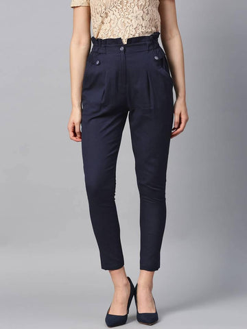 Stylish Navy Blue Cotton Blend Three Button Trouser For Women