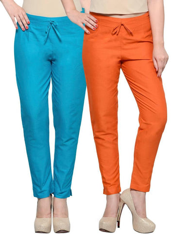 Stylish Orange & Turquoise Cotton Flex Trouser For Women ( Pack Of 2 )
