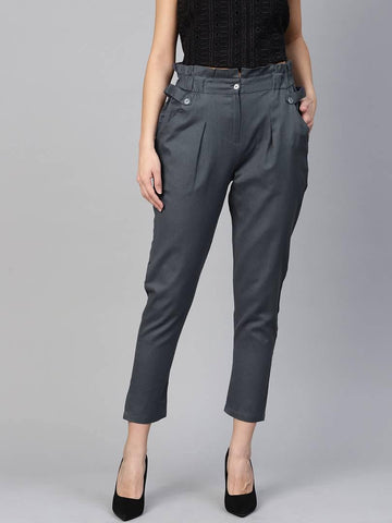 Stylish Grey Cotton Blend Three Button Trouser For Women