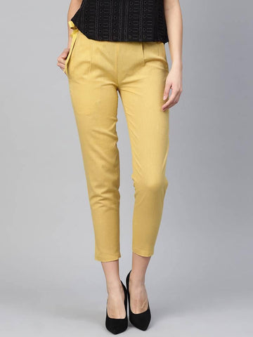 Stylish Khaki Cotton Blend Solid Side Tie Trouser For Women