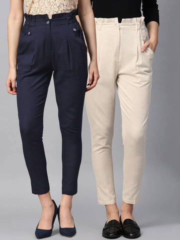 Stylish Multicoloured Cotton Blend Three Button Trouser For Women ( Pack Of 2 )