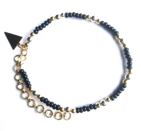 Trendy Glass with Beads Anklet for Women