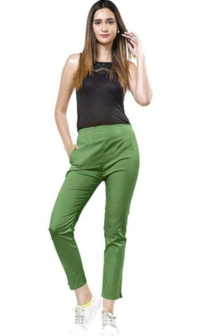 Stylish Green Cotton Lycra Solid Joggers For Women