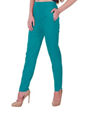 Stylish Olive Cotton Lycra Solid Joggers For Women