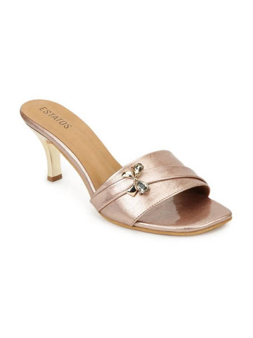 Synthetic Leather Cone Heeled Peach color Sandal