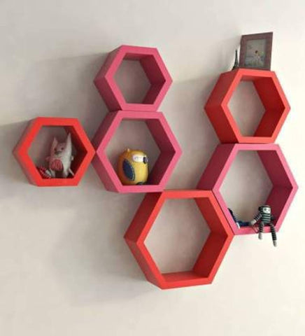 Wall Designing Hexagonal Rack Shelf